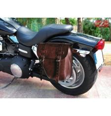 Alforja para Dyna Fat-Bob Harley Davidson mod, CENTURION - Marrón - IZQUIERDA