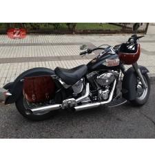 Alforja Lateral para Heritage Softail Harley Davidson mod, BANDO Básica Adaptable - Marrón -