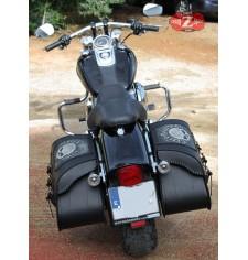 Alforjas Rígidas para Dyna Harley Davidson mod, SUPER STAR Básica - Hueco Amortiguador - Trenzados  - Específica.