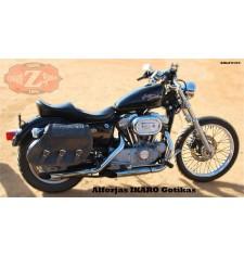 Set de Alforjas para Sportster Harley Davidson mod, IKARO -  Hueco Amortiguador - Trenzados Gotika -