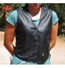 Gilet en cuir Custom mod, BETTY - Femme -