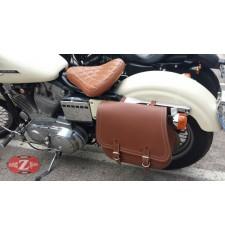 Alforja para Sportster Harley Davidson mod, SCIPION Básica - Marrón claro - Adaptable - IZQUIERDA