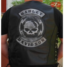 Personalized Custom Leather Vest - HD Skull -