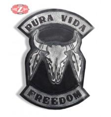 Parche Vintage Personalizado - PURA VIDA/FREEDOM - Cráneo Toro - Blanco -