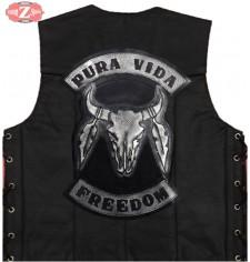 Chaleco Custom de piel Personalizado mod, PURA VIDA - Cráneo Toro -