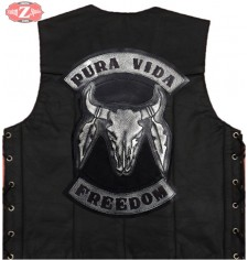 Personalized Custom Leather Vest mod, PURA VIDA - Bull Skull -