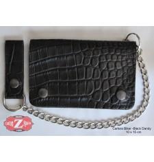 Portefeuille avec Chaîne en mètal mod, DANDY (10 x 15 cm) - Noir -