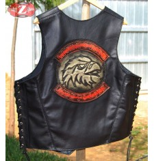 Personalized Custom Leather Vest mod, LIVE TO RIDE - Eagle Head -