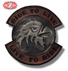 Patch Vintage personnalisé - LIVE TO RIDE - Tête d'aigle -
