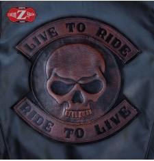 Parche Vintage Personalizado - LIVE TO RIDE - Skull - Marrón -