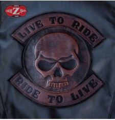 Patch Vintage personnalisé - LIVE TO RIDE - Skull - Brun -