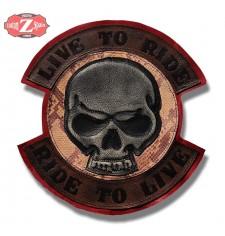 Parche Vintage Personalizado - LIVE TO RIDE - Skull - Serpiente -