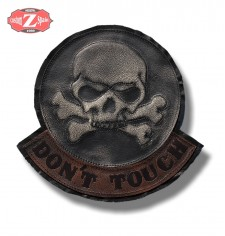 Personalised Vintage Patch - DON'T TOUCH - Skull - Brown/Ivory -