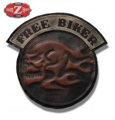 Parche Vintage Personalizado - FREE BIKER - Skull - Marrón -