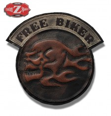 Personalised Vintage Patch - FREE BIKER - Skull - Brown -