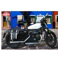 Alforja para Sportster Harley Davidson mod, CENTURION - Negro/Blanco - Hueco Amortiguador - DERECHA