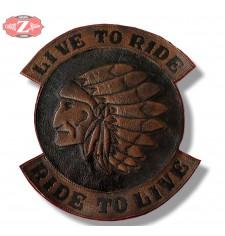 Parche Vintage Personalizado - LIVE TO RIDE - Jefe Indio - Marrón -