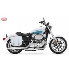 Sacoche pour Sportster Harley Davidson mod, BANDO Basique Spécifque - Blanc - Creuse Amortisseur - DROITE