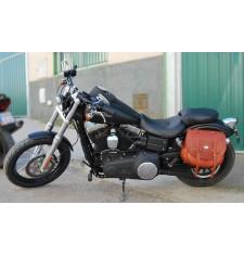 Alforja Lateral para Street-Bob Dyna Harley Davidson mod, BANDO Básica - Marrón Cuero -