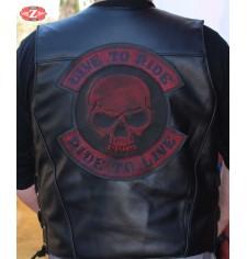 Parche Vintage Personalizado - LIVE TO RIDE - Skull - Rojo -