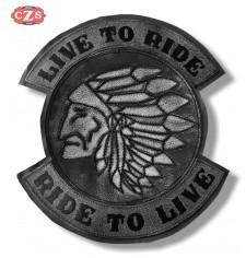 Parche Vintage Personalizado - LIVE TO RIDE - Jefe Indio - Gris -