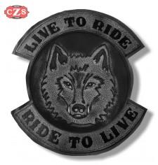 Parche Vintage Personalizado - LIVE TO RIDE - Lobo - Gris -