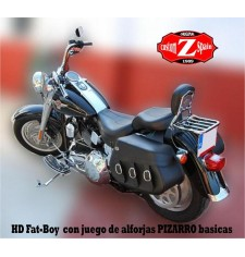 Alforjas para Softail Fat-Boy Harley Davidson mod, PIZARRO Básica Adaptables