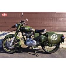 Sacoche pour Royal Enfield Battle Green mod, SPARTA - Armée Étoile - Vert Militaire - GAUCHE - Spécifique