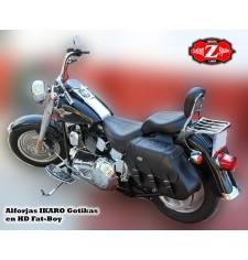 Sacoches pour Fat-Boy Softail Harley Davidson mod, IKARO Tressé Gothique Adaptable